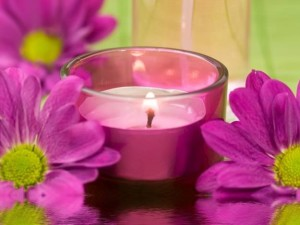 Bueautiful Flowers With Candle